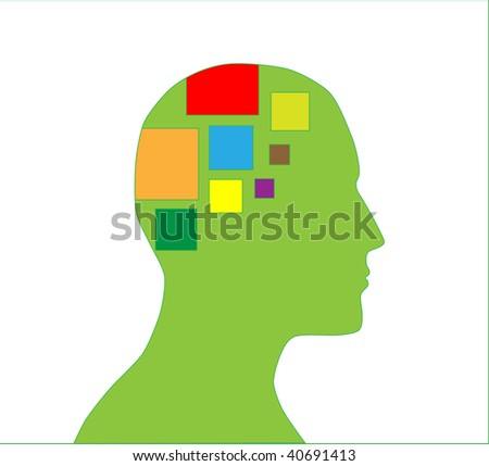 Silhouette of human head with ideas in mind - stock vector