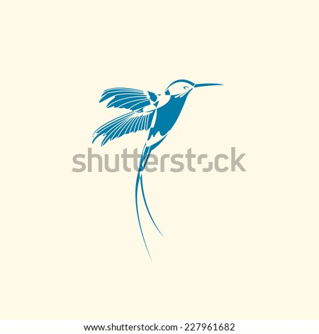 Silhouette of hummingbird. Vector EPS10 - stock vector