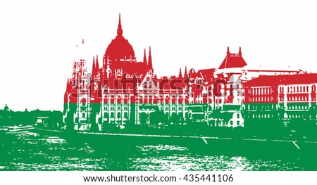 Silhouette of Hungarian parliament - Orszaghaz in Budapest filled with national colors. Vector graphic. Red and green. Hungarian flag. Travel destination. Architectural theme. - stock vector