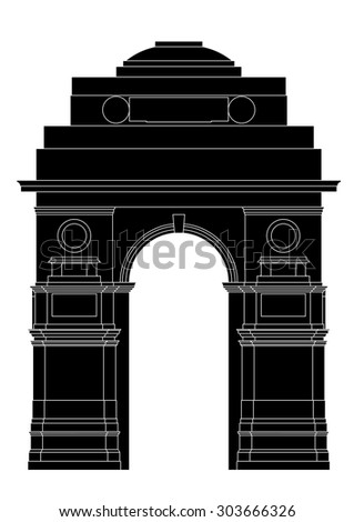 Silhouette of Indian gate in New Delhi - stock vector