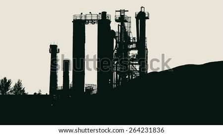 silhouette of industrial landscape, a factory working with raw stone. vector illustration - stock vector