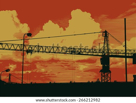 silhouette of industrial landscape with crane. vector illustration - stock vector