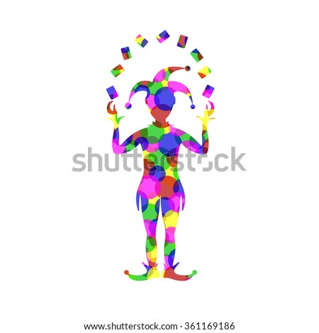 Silhouette of joker playing with cards in different colors  - stock vector