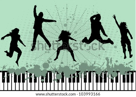 silhouette of jumping people - stock vector