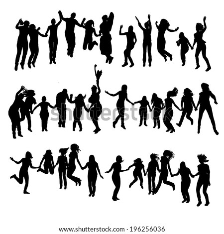 Silhouette of jumping people.