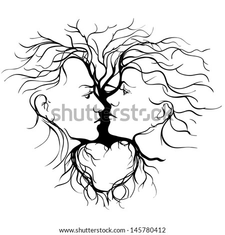Silhouette of kissing couple shaped by tree. vector llustration - stock vector