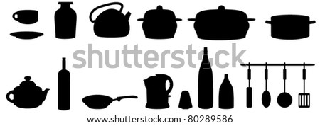Silhouette of kitchen subjects. vector - stock vector