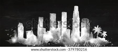 Silhouette of Los Angeles city painted with splashes of chalk drops streaks landmarks drawing with chalk on blackboard - stock vector