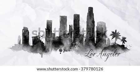 Silhouette of Los Angeles city painted with splashes of ink drops streaks landmarks drawing in black ink on crumpled paper - stock vector