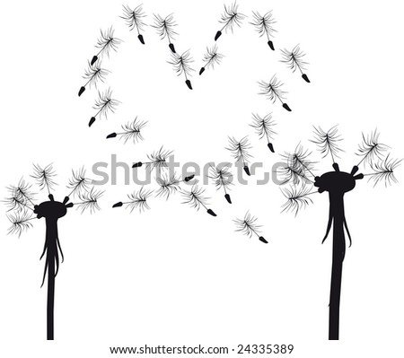 Silhouette of  love dandelion concept - stock vector