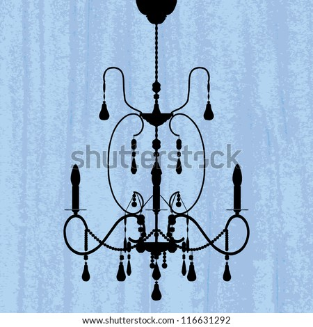silhouette of luxury chandelier on a scratched blue wallpaper/ template design of invitation with chandelier - stock vector