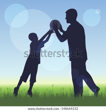 silhouette of man and a boy on nature background  - stock vector