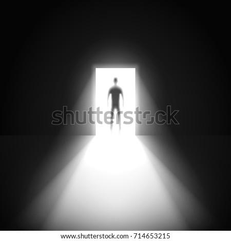 Silhouette Man Open Door Dark Room Stock Vector 714653215 Shutterstock