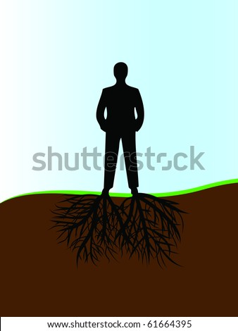 silhouette of man and roots from his legs - stock vector