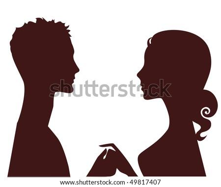 silhouette of man and woman in profile - stock vector