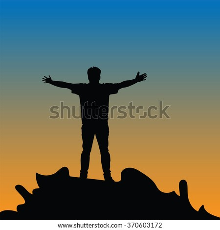 Silhouette of man hand up on the top mountain with the sunset. Vector