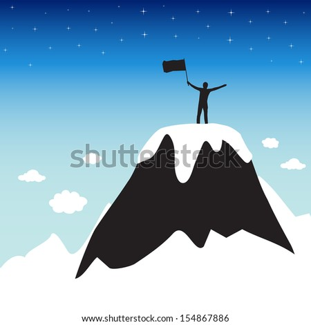 Silhouette of man on top the high mountain - stock vector