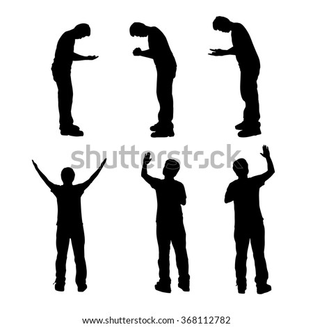 Silhouette of man praying and feel free with white background, concept for religion, worship, love and spirituality - stock vector