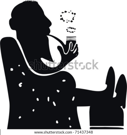 Silhouette of Man Smoking a Pipe - stock vector