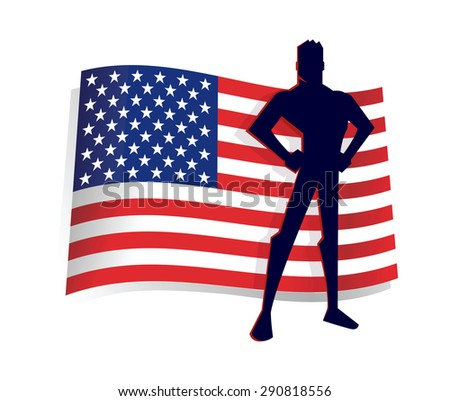 Silhouette of Man Standing in Front of The America Flag