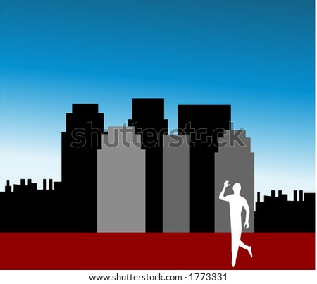 silhouette of man walking in the city - stock vector