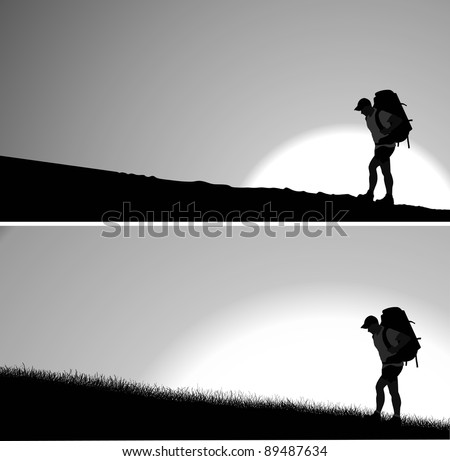 Silhouette of man with a backpack going up the hill. Rising sun in the background. Vector. Separate layers - stock vector