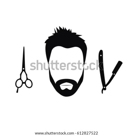 Silhouette Man Barber Tools Haircut Icons Stock Vector ...