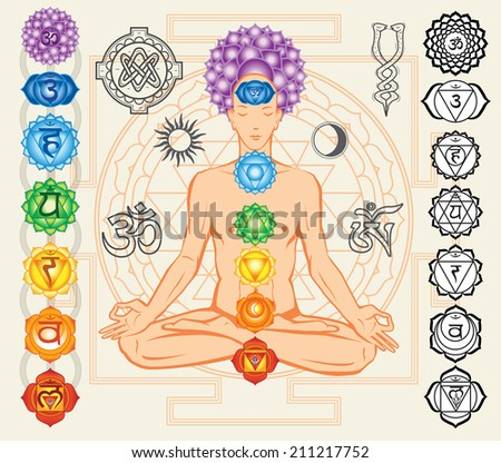 Silhouette of man with chakras and esoteric symbols - stock vector