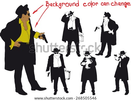 silhouette of man with gun and and hat. Shirt color and body can be easily changed - stock vector