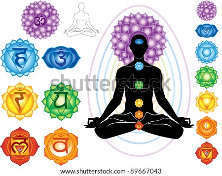 Silhouette of man with symbols of chakra - stock vector