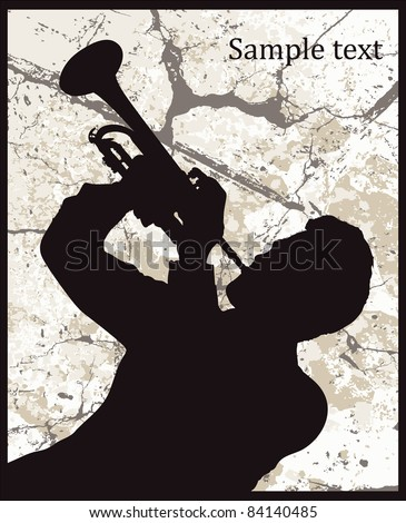 Silhouette of man with trumpet on grunge background - stock vector