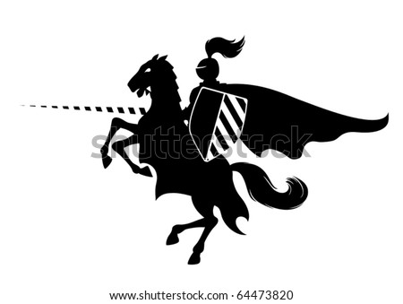 Silhouette of medieval knight on the horse - stock vector