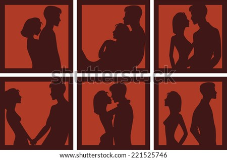 silhouette of men and women in different situations - stock vector