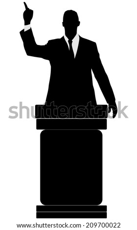silhouette of men speaking from tribune, vector