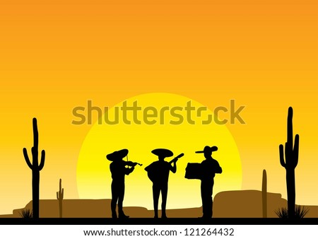 Silhouette of Mexican musician playing instruments at sunset with desert background, Vector - stock vector