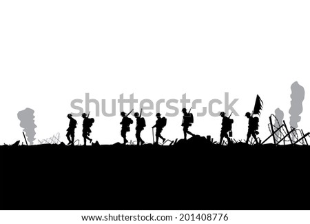 Silhouette of military defeated in war - stock vector
