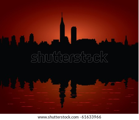 Silhouette of Morning city - stock vector