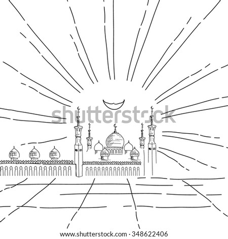 Silhouette of mosque with minarets and Crescent Moon. Ink painted sketch for Islamic holiday. Concept for celebration for Mawlid birthday of prophet Muhammad, holy month of Ramadan Kareem, Eid Mubarak - stock vector