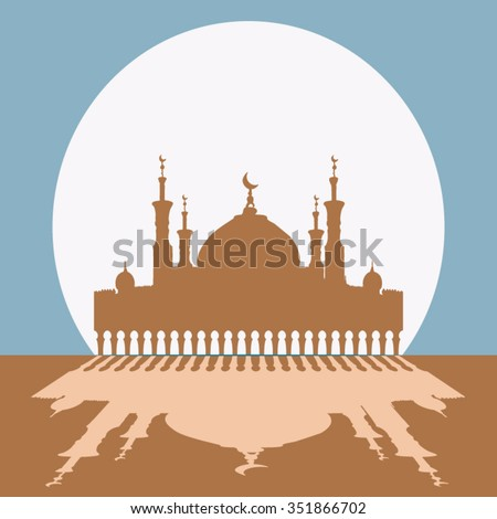 Silhouette of mosque with minarets. Concept for Islamic Muslim holiday for celebration Mawlid birthday of prophet Muhammad, holy month of Ramadan Kareem, Eid Mubarak - stock vector