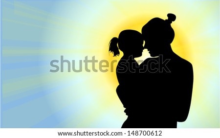 silhouette of mother with the daughter against the sun - stock vector