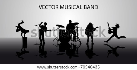 Silhouette of musical band