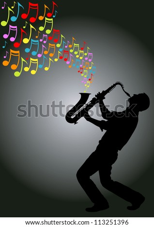 silhouette of musician playing a saxophone producing colored musical notes - stock vector