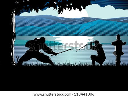 Silhouette of ninja fighting by the river at sunset, Vector - stock vector