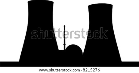 Silhouette of nuclear power plant. - stock vector
