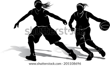 Silhouette of offensive and defensive girl basketball players. - stock vector