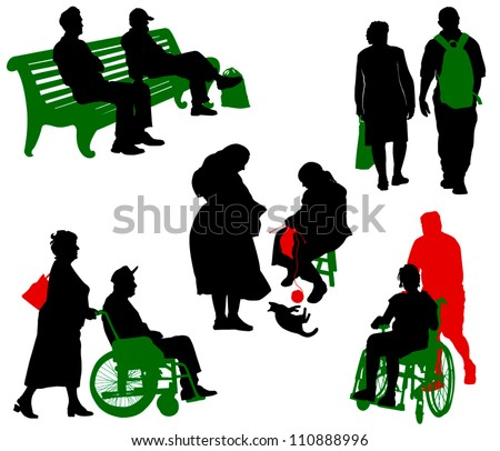 Silhouette of old and disabled people.