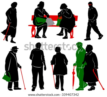 Silhouette of old and disabled people