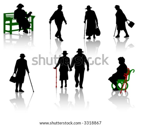 Silhouette of old people. - stock vector