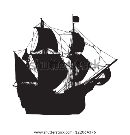 silhouette of old sailing ship - stock vector