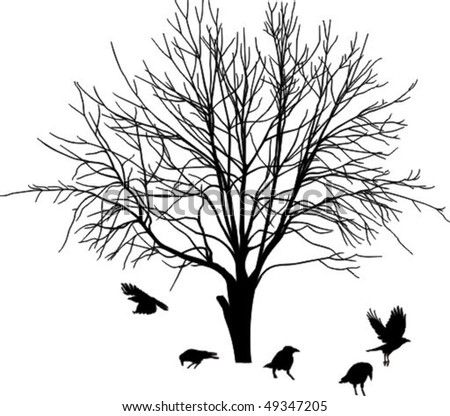 Silhouette of one foliate tree and some crow (vector illustration) - stock vector